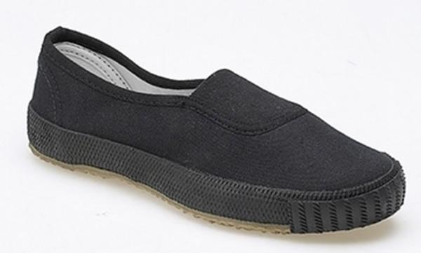 Plimsolls - Black Slip-On | Jersey