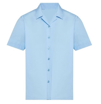 Picture of Blouse Short Sleeve Rever Collar - Blue