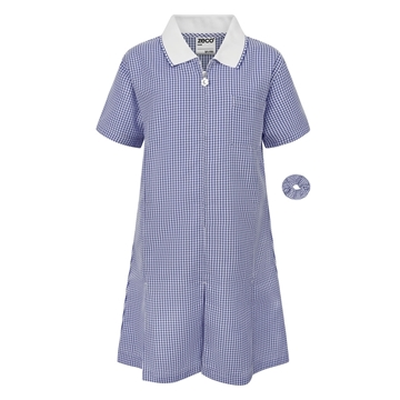 Picture of ZECO GINGHAM DRESS - NAVY BLUE