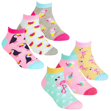 Picture of Girls Tropical Print Trainer Liner Socks