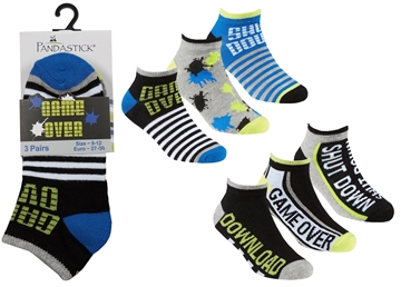 Picture of Boys Gaming Print Trainer Liner Socks